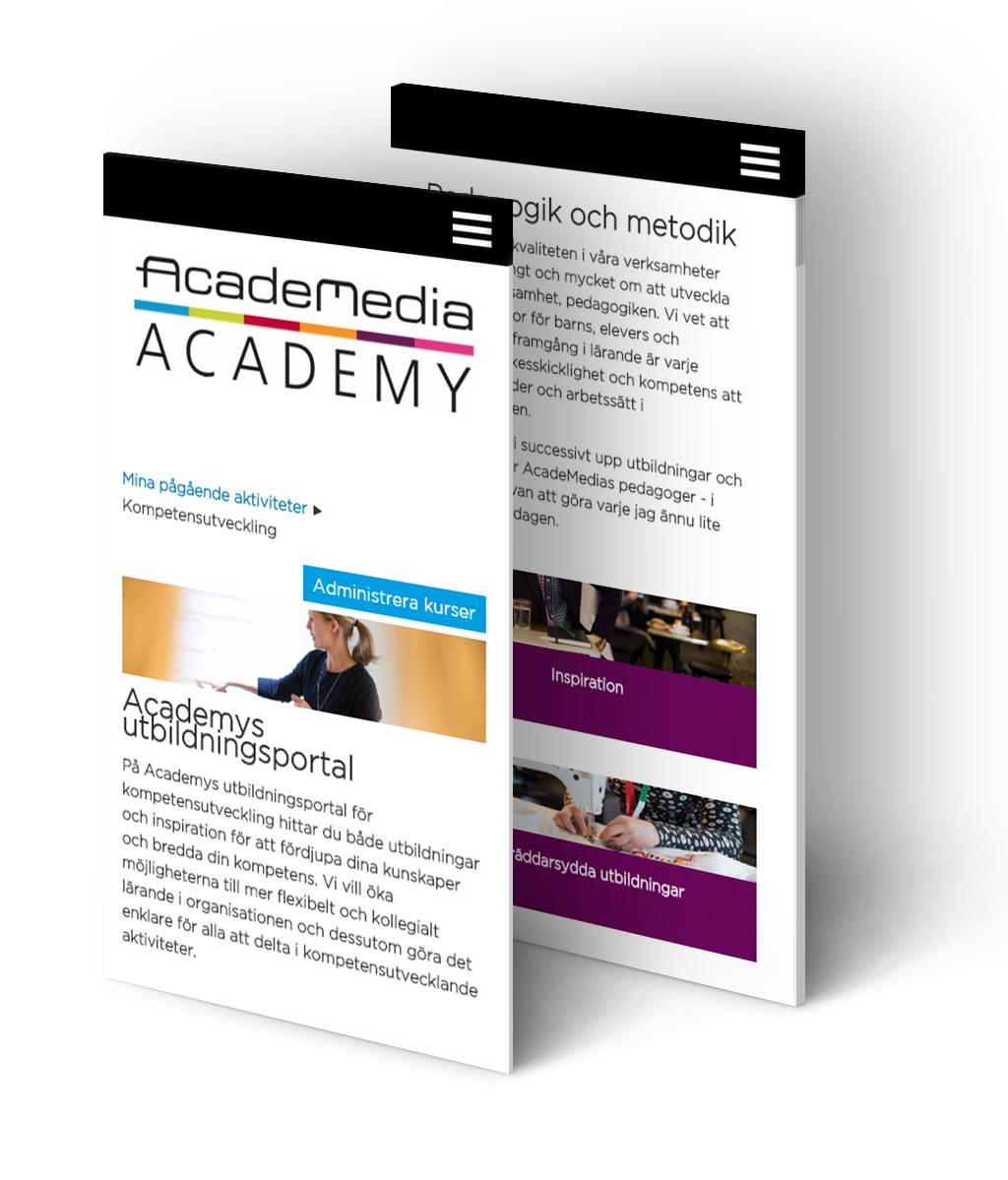 Responsiv visning av Academedia Academy Totara i mobil