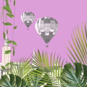 Luftballonger över Stockholm, med djungelväxter i förgrunden.