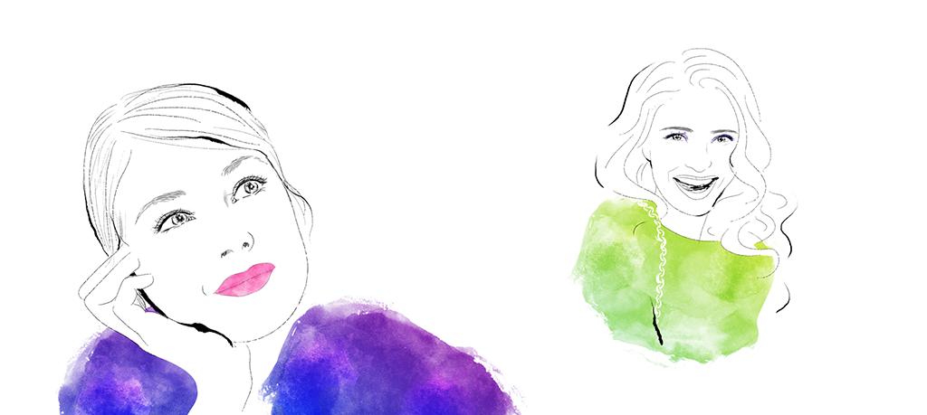 Illustration med akvarell av två kvinnor