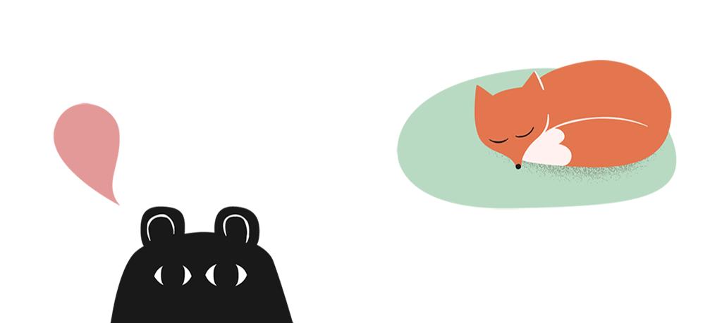 Illustration av en björn och en räv