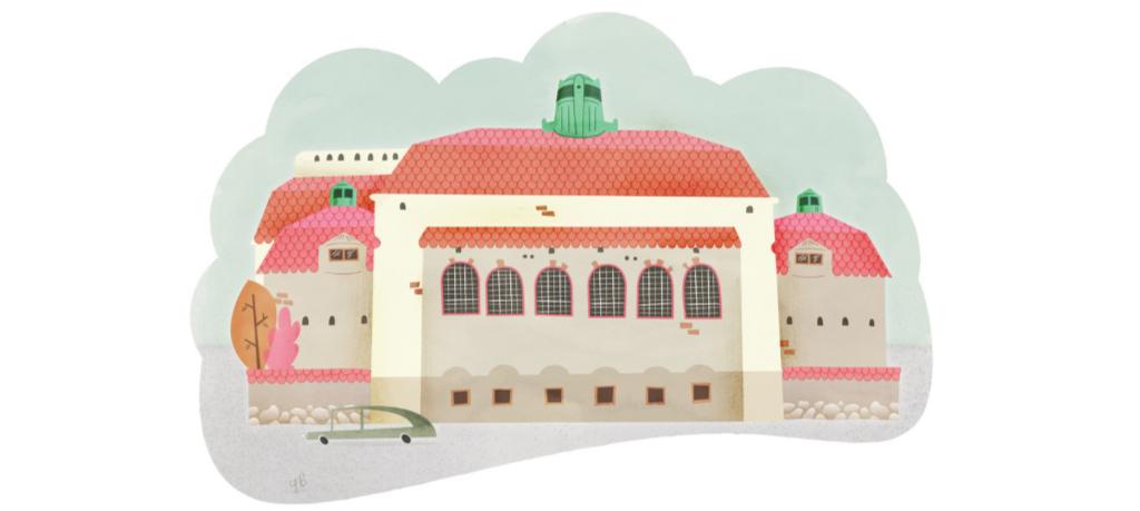 illustration av Östra Real stockholm