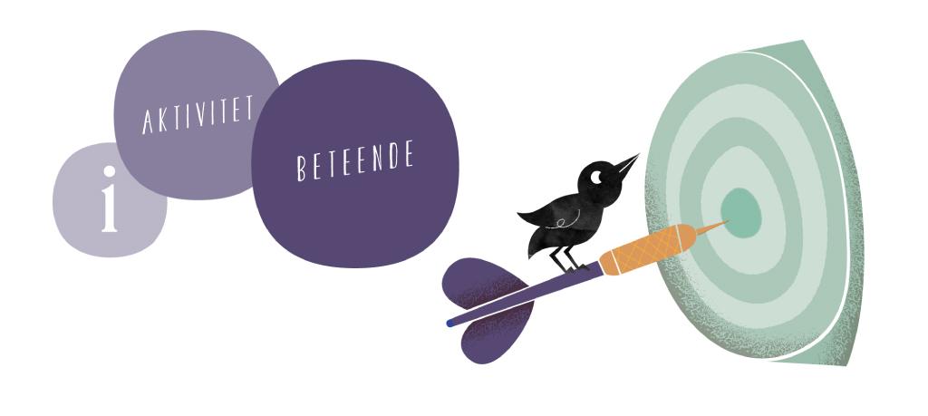 Illustration av en fågel som sitter på pilen som sitter fast i en måltavla