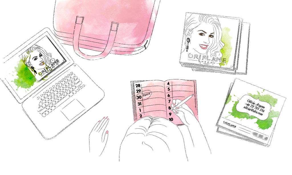 Illustration av kvinna som sitter vid sitt skrivbord med väska dator och kalender