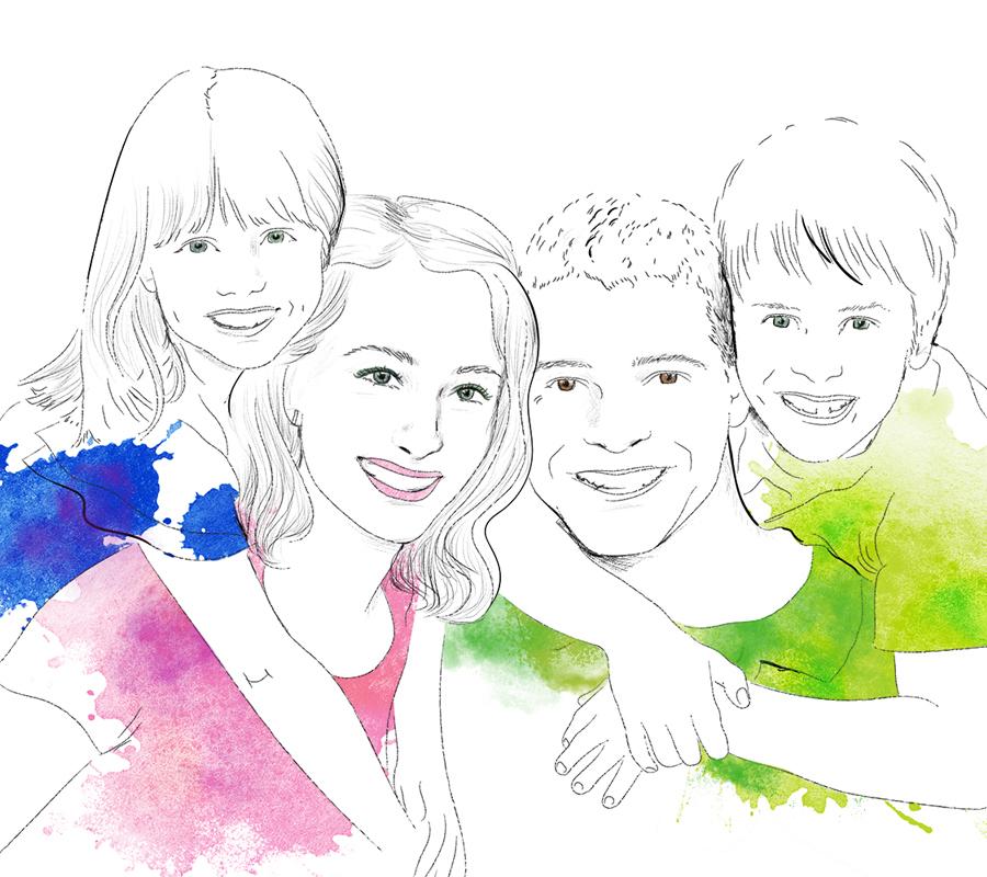 Illustration och akvarell av familj