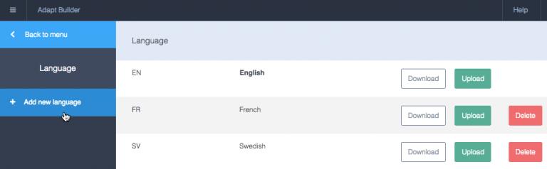 Skärmbild från Adapt, visar stöd för flera språk.