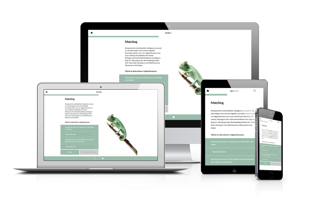 Responsiv webbdesign, samma innehåll men olika utformning på olika skärmstorlekar.