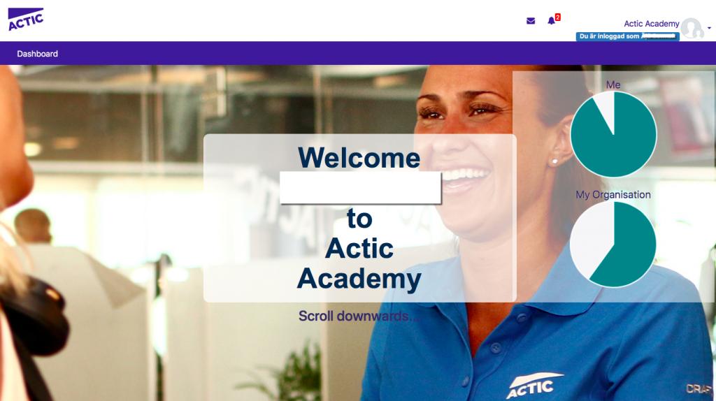 Skärmbild av startsida i Actics LMS