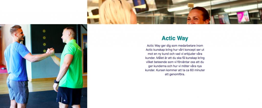 Skärmbild från Actics Totara Learn LMS.