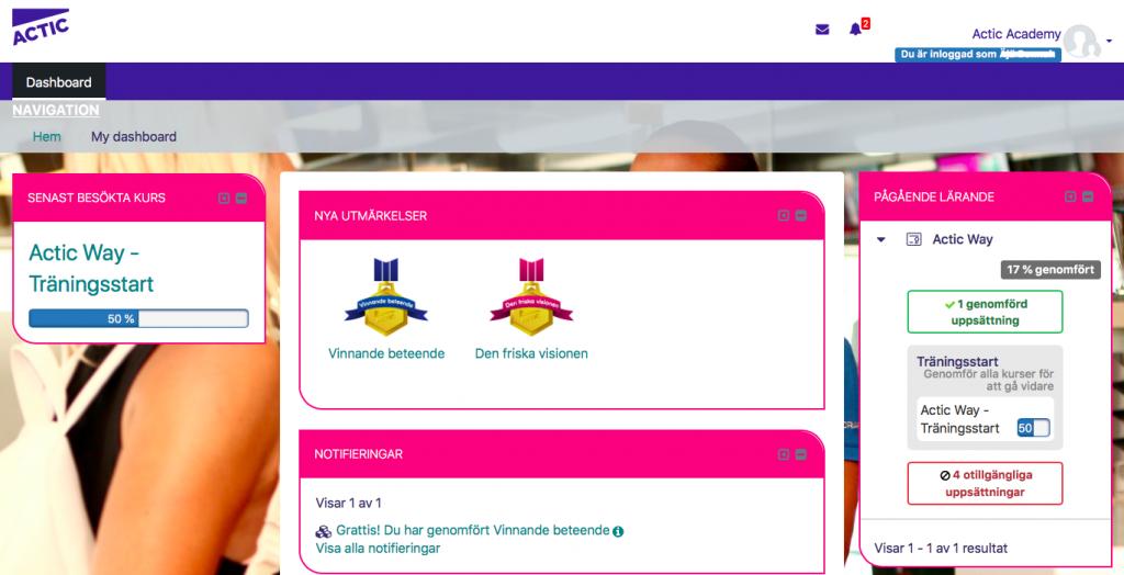 Skärmbild av deltagares översiktssida i LMS, med digitala utmärkelser.