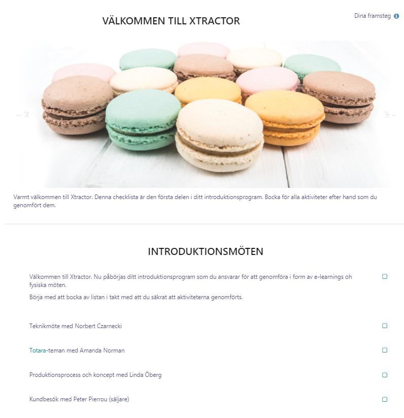 Bilden visar ett exempel på introduktionsprogram.