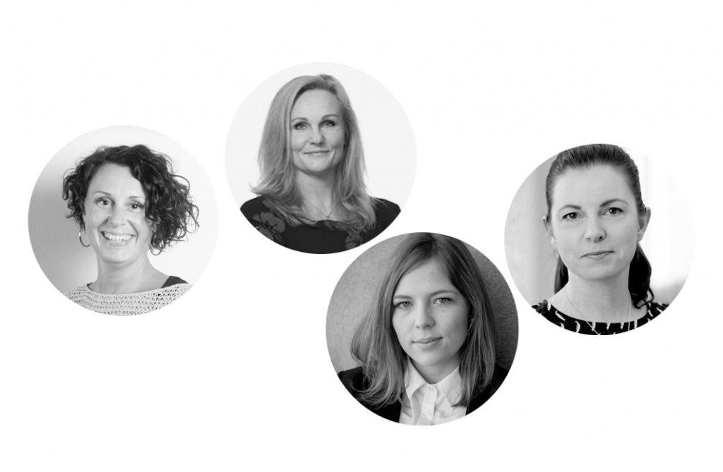 Porträtt av våra ämnesexperter Pia Stider, Katarina Lindgren, Matilda Andersson och Maria Wellmert.