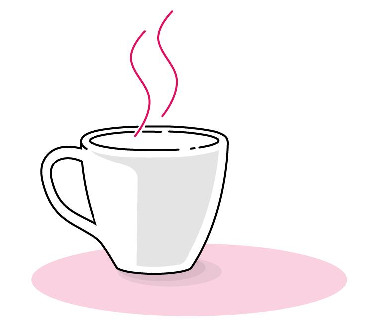 Tecknad bild av kaffekopp.