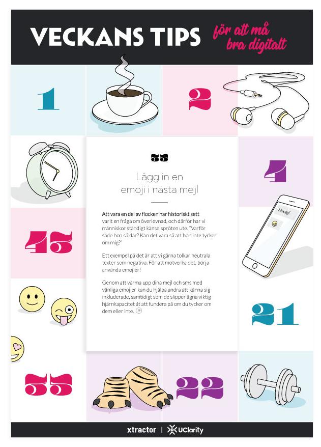 Dagblock med tips för att må bra digitalt.