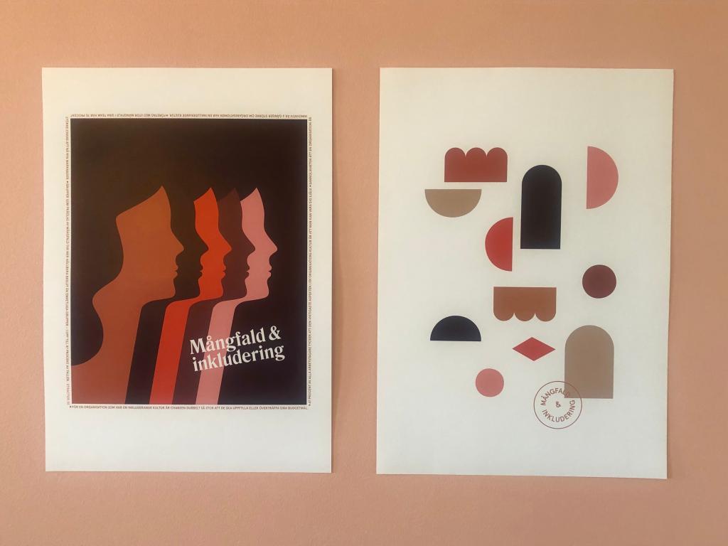 Affischer om mångfald och inkludering.