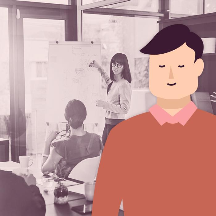Tecknad person i färg framför svartvitt foto av personer på kontor.
