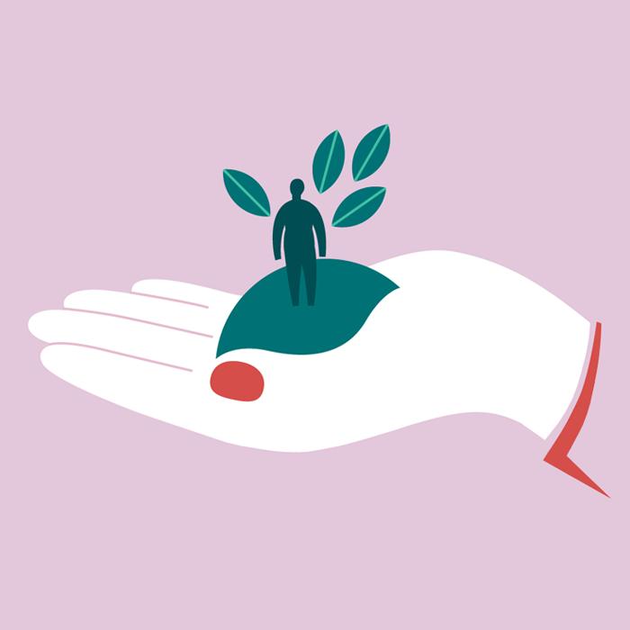 Tecknad hand som håller en liten människa med blomblad.