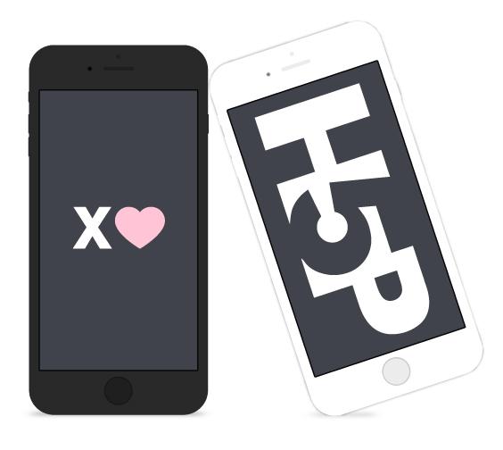 Två smartphones, en med ett X och ett hjärta i, en med lotogypen för H5P.