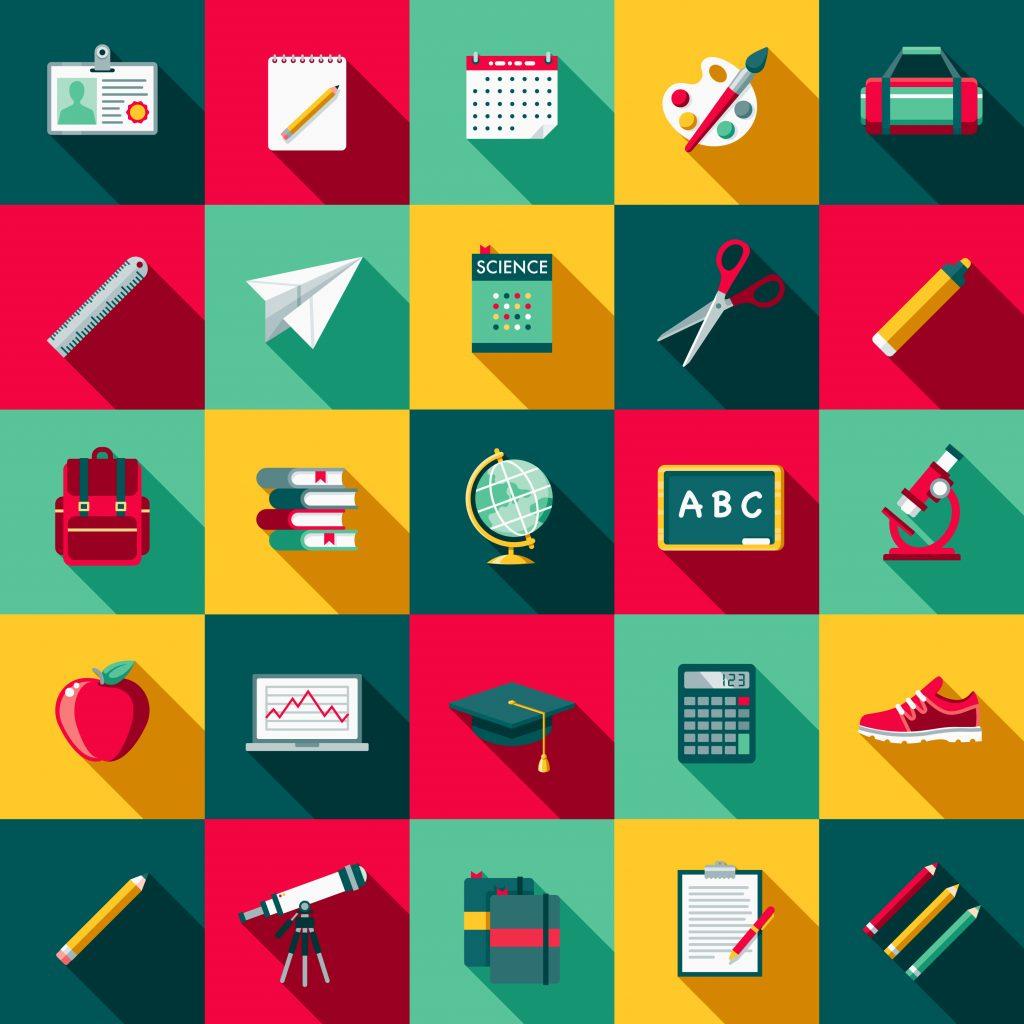 Collage föreställande 25 färgglada ikoner, såsom jordglob, linjal, förstoringsglas, konstnärs-kit, äpple, blyertspenna och joggingsko.