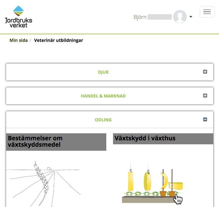 Skärmbild från Jordbruksverkets lärplattform. Visar olika utbildningskategorier: Djur, Handel & Marknad samt Odling. Under sistnämnda två utbildningar Bestämmelser om växtskyddsmedel samt Växtskydd i växthus.
