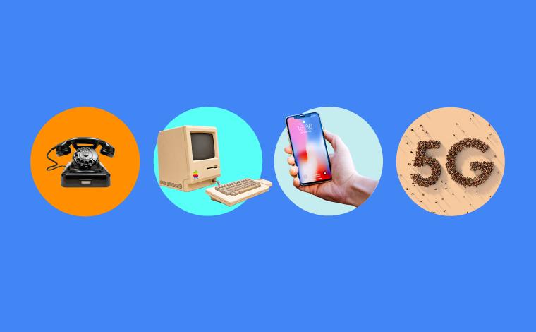 Cirklar med gammaldags telefon, äldre dator, ny mobil och texten 5G