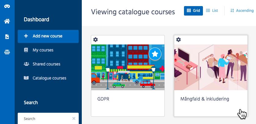 """Skärmbild från författarverktyget Adapt Builder, med två synliga kurser  i katalogen, """"GDPR"""" samt """"Mångfald och inkludering""""."""