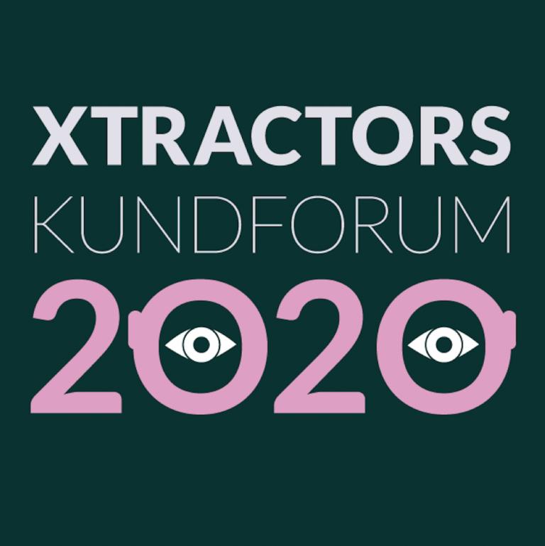 Text: Xtractors kundforum 2020, med två ögon inplacerade i nollorna i 2020.