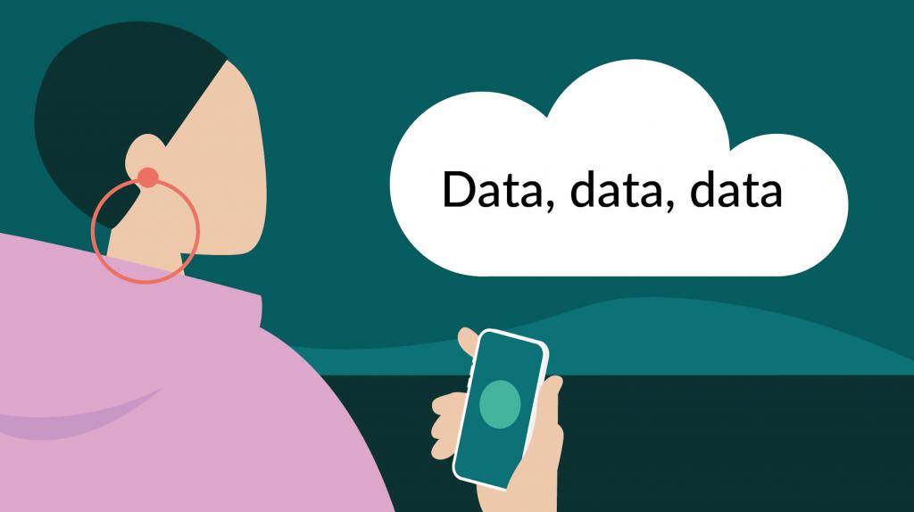"""Tecknat moln på himmel, text i molnet: """"Data, data, data""""."""