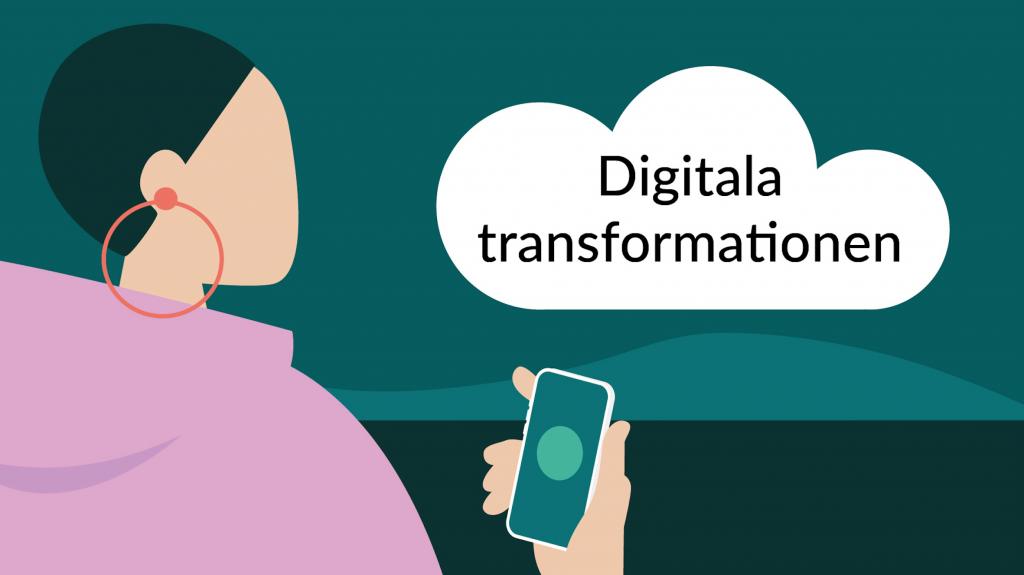 """Tecknat moln på himmel, text i molnet: """"Digitala transformationen""""."""