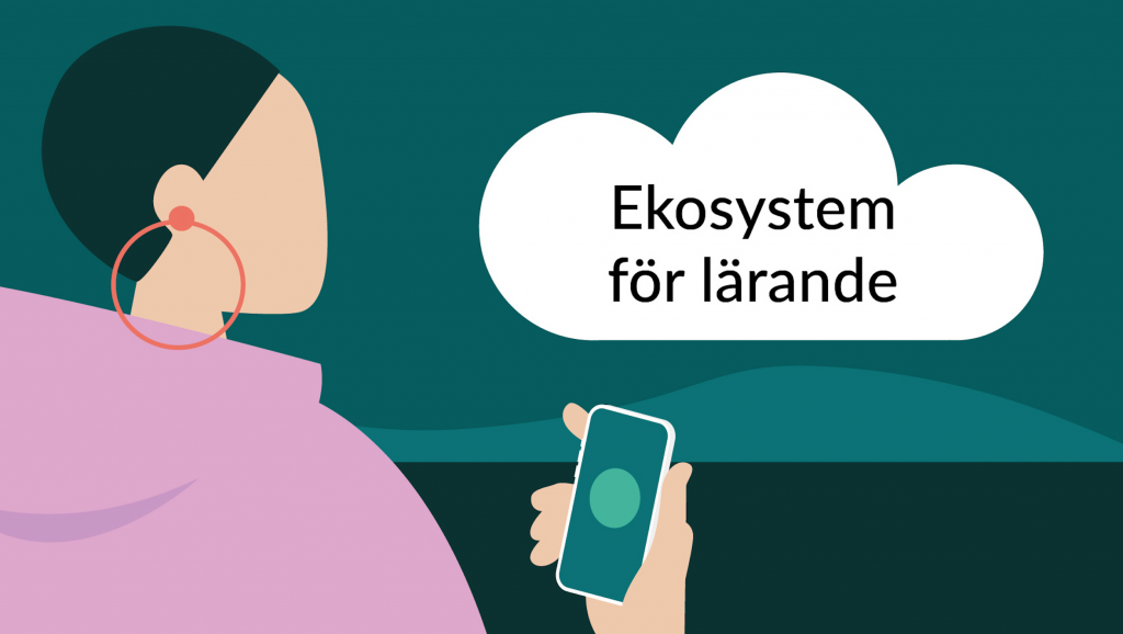 """Tecknat moln på himmel, text i molnet: """"Ekosystem för lärande""""."""