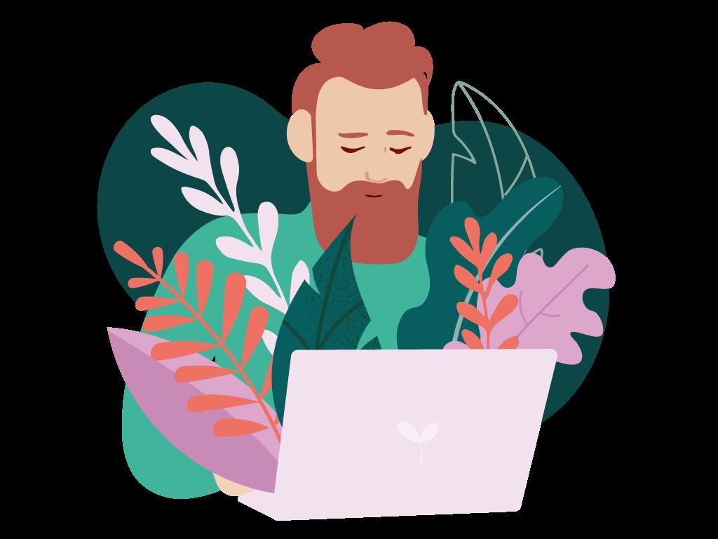 Illustration på rödhårig man med skägg vid dator.