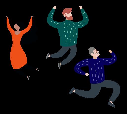 Tre illustrerade karaktärer, en skäggig man i grön tröja, en kvinna med svart, vågigt hår och en gråhårig man med glasögon, hoppar av glädje.