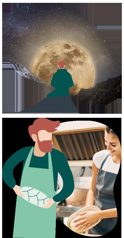 En illustrerad skäggig man i grön tröja tittar på månen i ett fotokollage, och bakar ett bröd i ett kollage med en kvinna i förkläde.