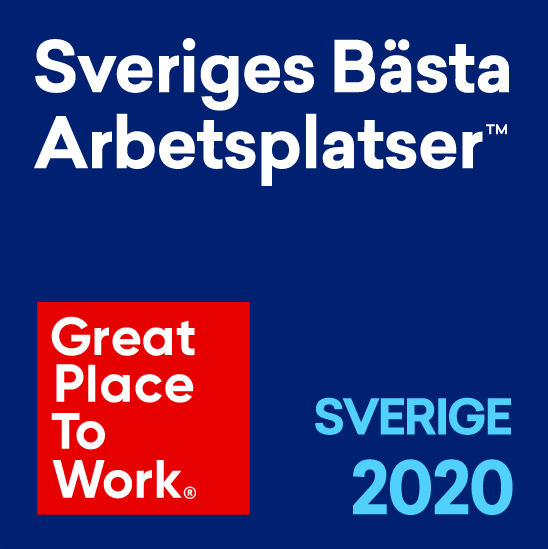 Logotyp: Sveriges Bästa Arbetsplatser, Sverige 2020. Great Place to Work.