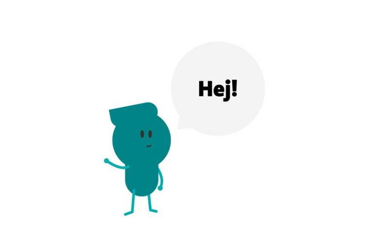 Filuren Pop som vinkar och säger hej.