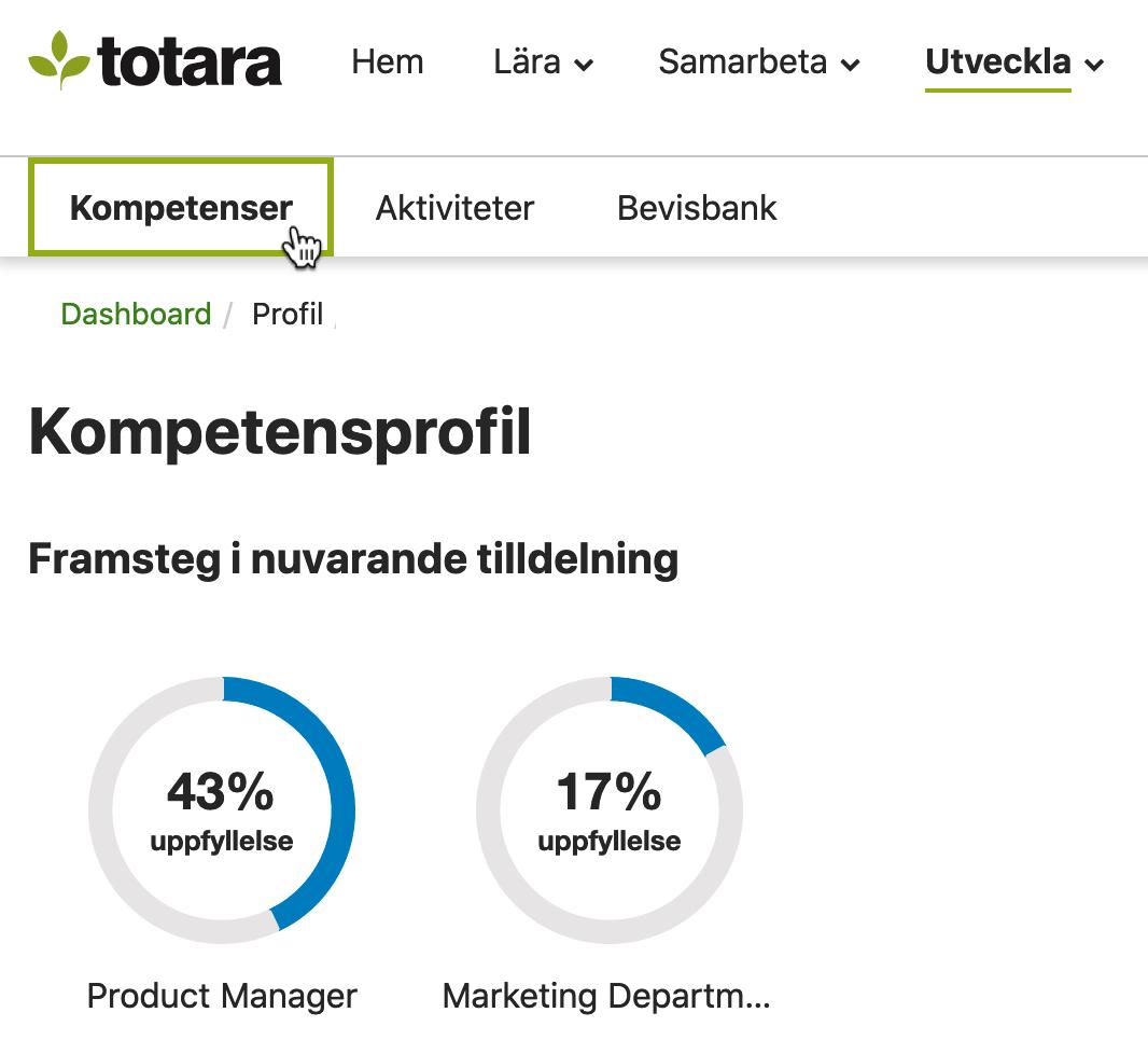 Skärmbild: Medarbetares kompetensprofil i Totara Learn.