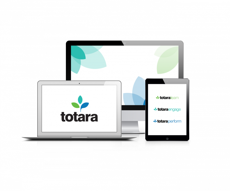 Tecknad bild på datorskärmar och mobilskärm med Totara-logotyper.