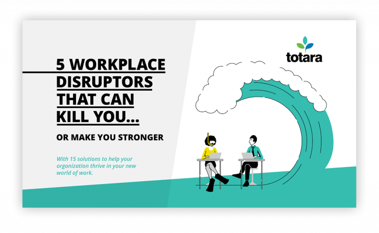 "Försida till e-bok med titeln ""5 workplace disruptors that can kill you... or make you stronger""."