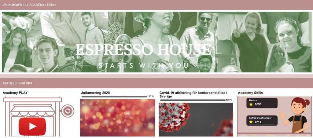 """Skärmbild av startsida Espresso House lärplattform """"Totara Learn."""""""