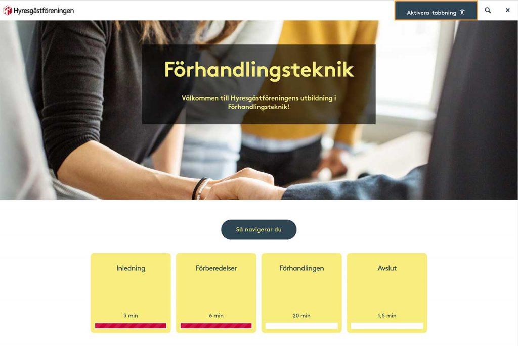 Skärmbild från digital utbildning från Hyresgästföreningen, i ämnet förhandlingsteknik.