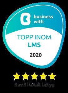 Logotyo: Business With: Topp inom LMS 2020. 5 av 5 i betyg.